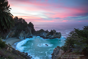 sunrise, McWay Falls, Julia Pfeiffer state park, waterfall, pink sky, big sur, rugged coast, pacific ocean