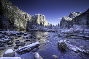 New Snow, Yosemite Valley, gates of the valley, blue sky, frosty, winter, california, reflection, el capitan,