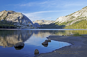 Tenaya Lake, reflection, dome, shoreline, blue sky, peaceful, evening, tranquil, Yosemite National Park, High Sierra